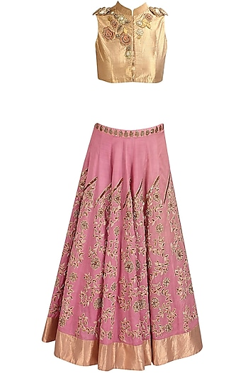 Pink Floral Zardozi and Resham Embroidered Lehenga and Gold Blouse Set by Aharin India