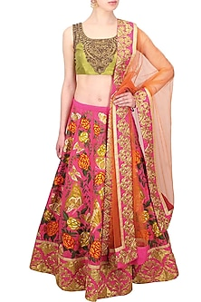 Pink Butterfly and Floral Embroidered Lehenga and Lime Green Blouse Set by Aharin India