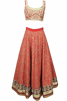 Red Floral Thread and Sequins Embroidered Lehenga Set by Aharin India