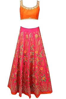 Pink Floral Resham and Zari Embroidered Lehenga and Orange Blouse Set by Aharin India