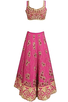 Pink and Gold Floral Zardozi and Dori Embroidered Lehenga Set by Aharin India