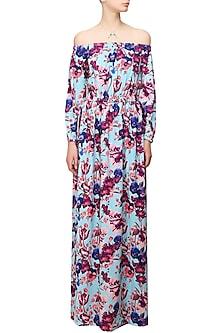 Blue Floral Printed off Shoulder Maxi Dress by Ash Haute Couture