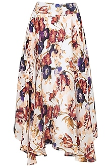 Cream floral printed circular flared skirt by Ash Haute Couture