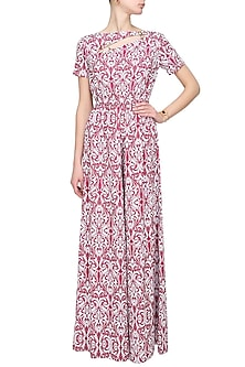 White and red ornament printed jumpsuit by Ash Haute Couture