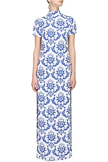 White retro printed high slit cape by Ash Haute Couture