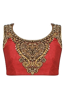 Red and Gold Zardozi Embroidered Blouse by Aharin India