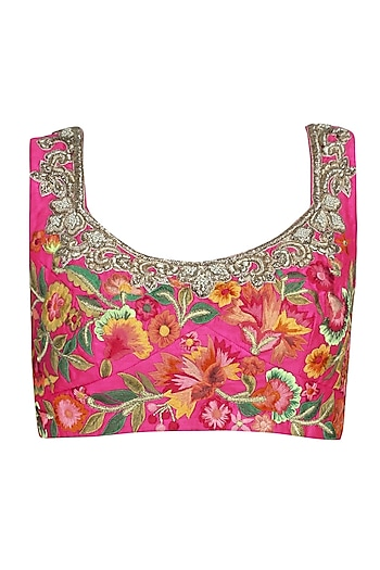 Pink Floral Pattern Zardozi Embroidered Blouse by Aharin India