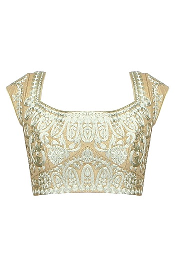 Dull Gold Color Jaal Embroidered Blouse by Aharin India