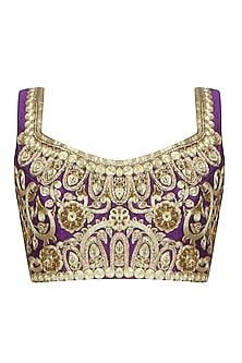 Purple Ornamental Jaal Pattern Blouse by Aharin India