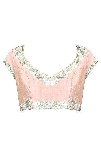 Peach Paisley Motifs Thread Work Embroidered Blouse by Aharin India