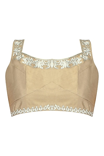 Gold Floral Motif Zari Embroidered Blouse by Aharin India
