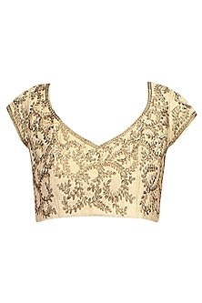 Antique Gold Zari Sequinned Embroidered Blouse by Aharin India