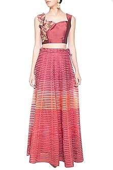 Onion pink embroidered blouse with lehenga skirt by Aharin India