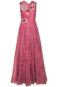 Onion pink embroidered anarkali set by Aharin India