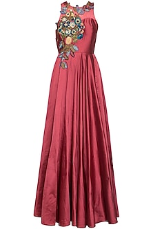 Onion pink embroidered gown by Aharin India