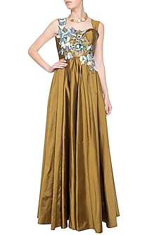 Dark gold embroidered gown by Aharin India