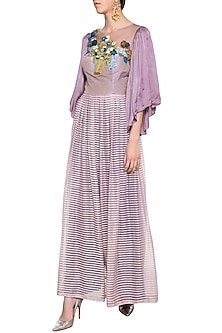 Mauve embroidered anarkali set by Aharin India