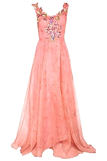 Peach embroidered gown by Aharin India