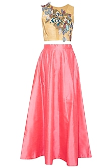 Yellow embroidered top with coral skirt by Aharin India