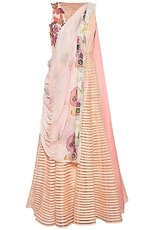 Peach embroidered striped anarkali set by Aharin India