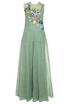 Green embroidered anarkali set by Aharin India
