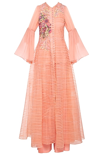 Peach patch embroidered anarkali set by Aharin India