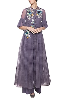 Violet embroidered anarkali set by Aharin India