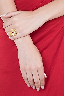 Gold Plated Stone & Kundan Floral Hexagon Ring by Ahilya Jewels
