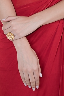 Gold Plated Ruby Stones & Kundan Pushpika Ring by Ahilya Jewels