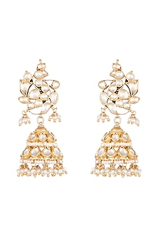 Gold Plated Pearl & Kundan Bird Motif Jhumka Earrings by Ahilya Jewels