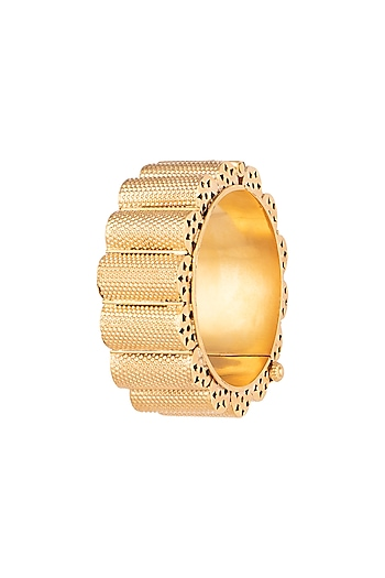 Gold Plated Contemporary Gajredar Bangle by Ahilya Jewels