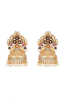 Gold Plated Pink Glass Stones & White Bead Jhumka Earrings by Ahilya Jewels