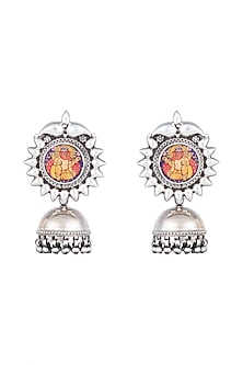 Silver Plated Ganesha Painted Jhumka Earrings by Ahilya Jewels