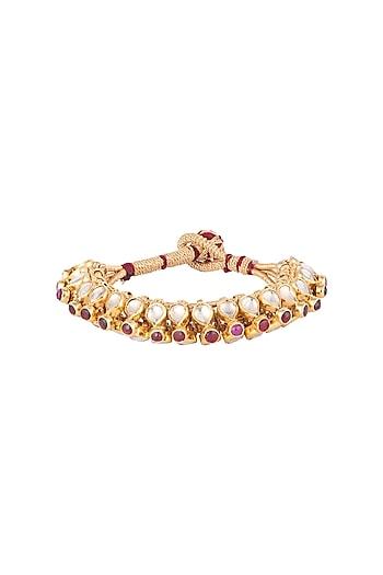 Gold Plated Glass Stones & Kundan Bracelet by Ahilya Jewels