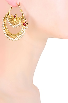 Gold Plated Ruby And Pearls Two Tiered Chandbali Earrings by Ahilya Jewels