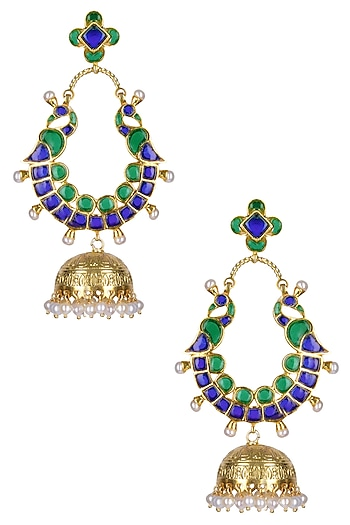 Gold Plated Green And Blue Translucent Stones Peacock Earrings by Ahilya Jewels