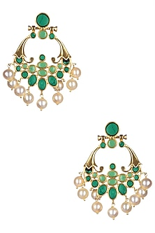Gold Plated Turquoise and Jade Chandbalis by Ahilya Jewels