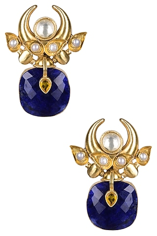 Gold Plated Lapis Lazuli And Pearl Cabochons Crescent Earrings by Ahilya Jewels