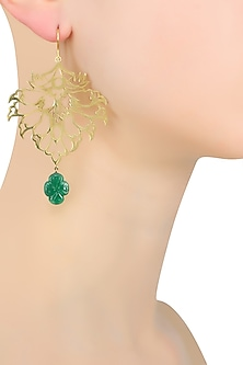 Gold Plated Flower and Leaf Design Earrings by Ahilya Jewels
