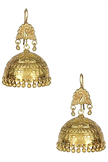 Gold Plated Peacock Motif Carved Jhumkis by Ahilya Jewels