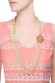 "Gold Plated Filigree ""Paan"" Shaped Motif Pearl Strand Royal Necklace by Ahilya Jewels"