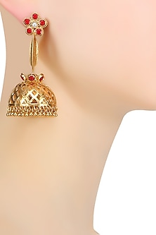 Gold Plated Flower Design and Pearl Studded Earrings by Ahilya Jewels