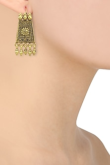 Gold Plated Trapezoid Shaped Earrings by Ahilya Jewels