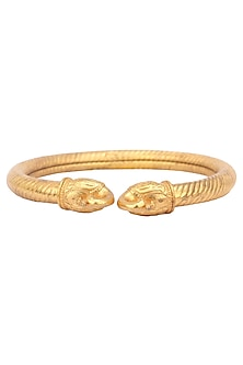 Gold Plated Textured Peacock Kada by Ahilya Jewels
