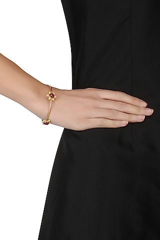Gold Plated Floral Cuff Bangle by Ahilya Jewels