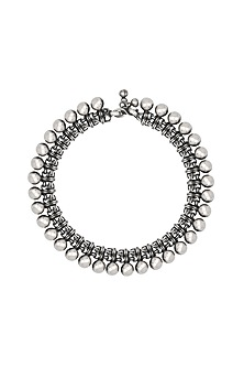 Silver Finish Mogra Design Anklet by Ahilya Jewels