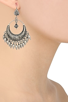 Silver Finish Crescent Shaped Earrings by Ahilya Jewels