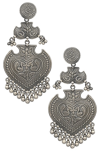 Silver Finish Textured Leaf Shaped Earrings by Ahilya Jewels