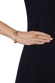 Gold Plated Textured Flower and Ruby Stones Haath Phool by Ahilya Jewels