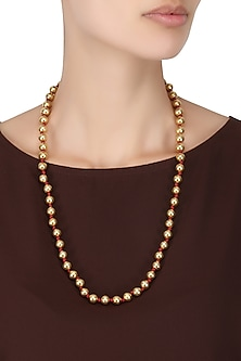 Gold Plated Single Strand Beaded Necklace by Ahilya Jewels